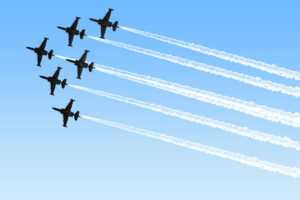 0115 Six Fighter Planes Showing Talent Stock Photo regarding Air Force Powerpoint Template
