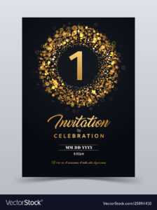 1 Year Anniversary Invitation Card Template with regard to Template For Anniversary Card