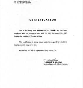 10 Certificates Of Employment Samples | Business Letter with Certificate Of Employment Template