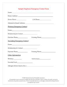 10+ Emergency Information Form Examples – Pdf | Examples pertaining to Emergency Contact Card Template