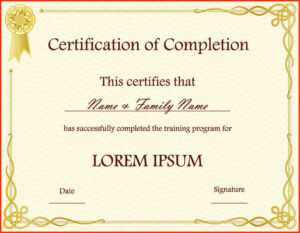 10 Template For A Certificate Of Completion | Business Letter pertaining to Certificate Of Participation Template Word