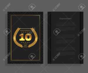 10Th Anniversary Decorated Greeting Or Invitation Card Template.. throughout Template For Anniversary Card
