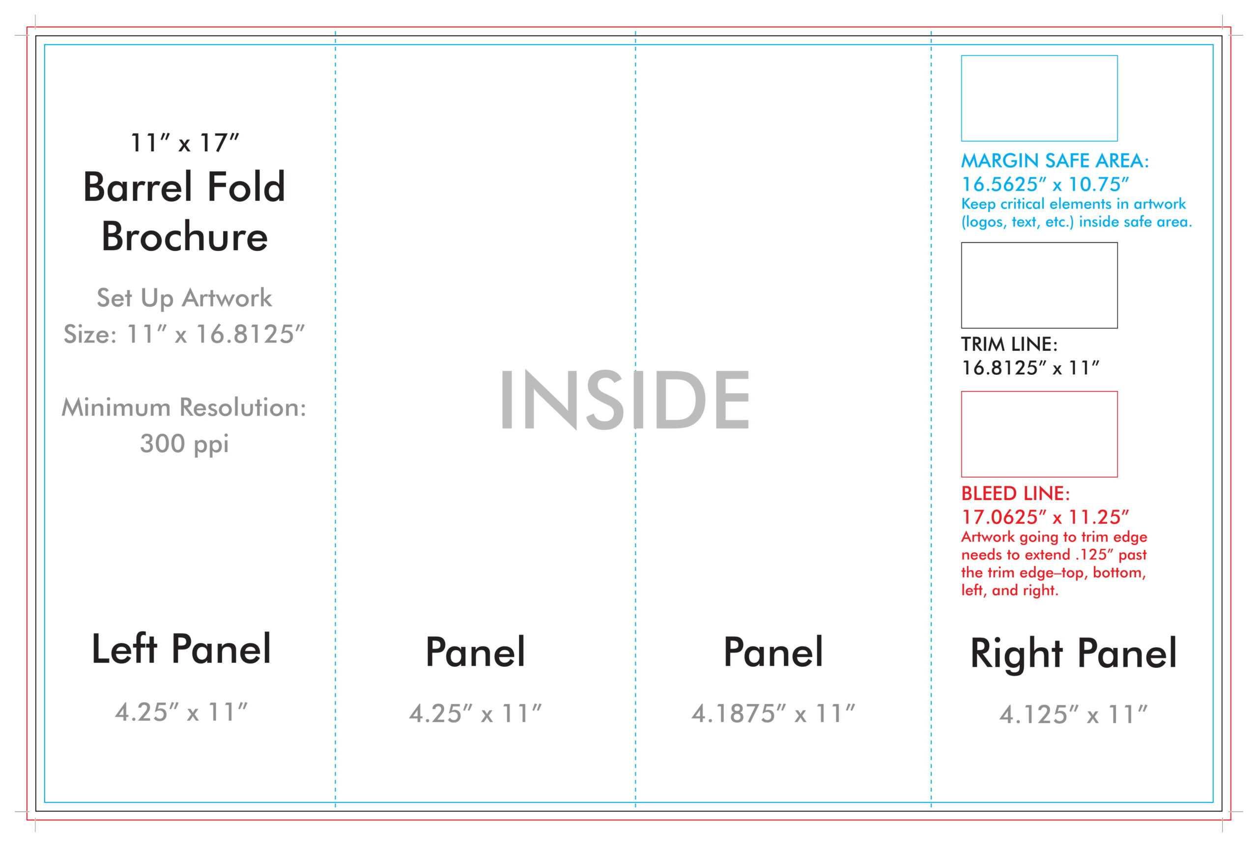 "11"" X 17"" Barrel Fold Brochure Template - U.s. Press For 4 Panel Brochure Template"