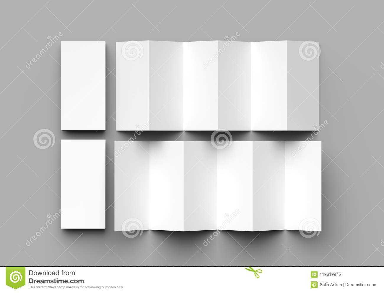 12 Page Leaflet, 6 Panel Accordion Fold - Z Fold Vertical Inside 6 Panel Brochure Template