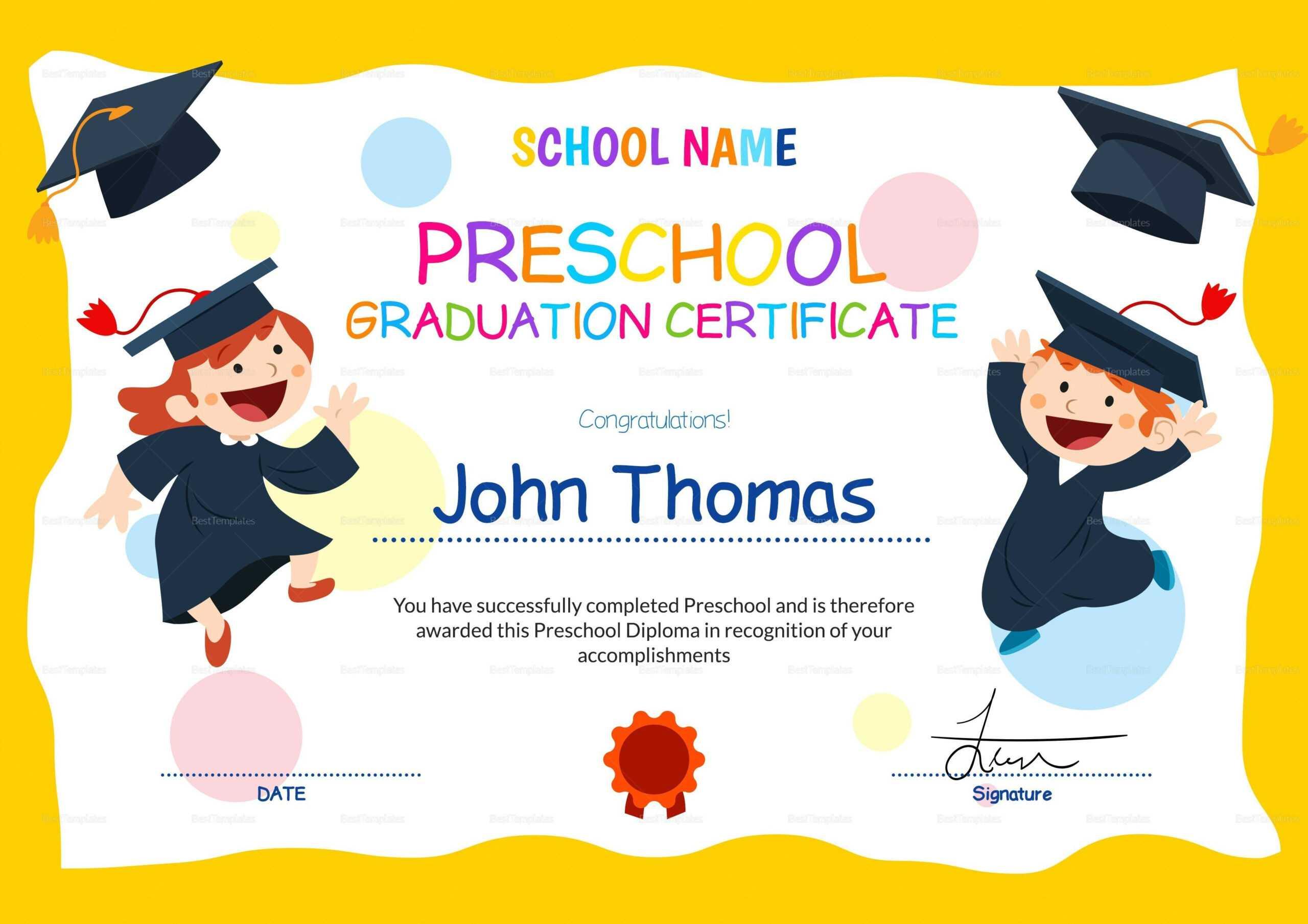 12 Unique Preschool Graduation Certificate Template Free With Free Printable Graduation Certificate Templates