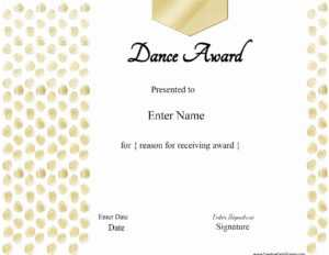 13+ Dance Certificate Template   Free Printable Word & Pdf within Dance Certificate Template