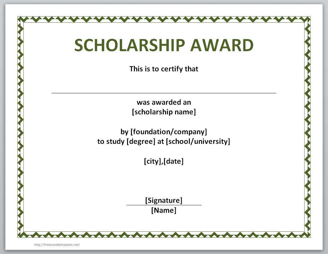 13 Free Certificate Templates For Word » Officetemplate For Scholarship Certificate Template