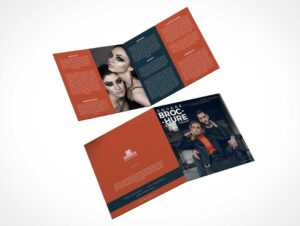2 Panel Square Bi-Fold Brochure Front & Back Psd Mockup inside 2 Fold Brochure Template Psd