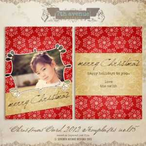 2012 Christmas Card Templates Vol.14 — 5X7 Inch Card for Free Photoshop Christmas Card Templates For Photographers