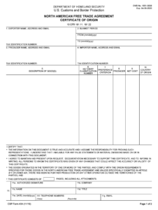 2016-2020 Form Cbp 434 Fill Online, Printable, Fillable pertaining to Nafta Certificate Template