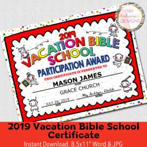 """2019 Vbs Certificate, Vacation Bible School, Instant Download – 8.5X11""""  Word And Jpg inside Vbs Certificate Template"""