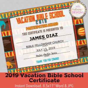 """2019 Vbs Certificate, Vacation Bible School, Instant Download – 8.5X11""""  Word And Jpg regarding Vbs Certificate Template"""
