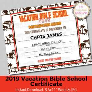 """2019 Vbs Certificate, Vacation Bible School, Lion Roar Vbs, Instant  Download – 8.5X11"""" Word And Jpg regarding Free Vbs Certificate Templates"""