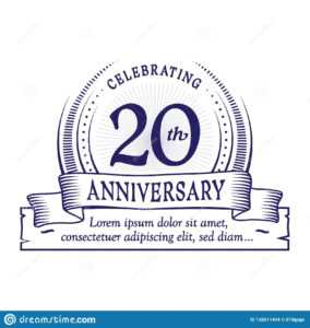20Th Anniversary Design Template. 20 Years Logo. Twenty throughout Anniversary Certificate Template Free