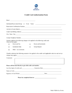 23+ Credit Card Authorization Form Template Pdf Fillable 2020!! throughout Hotel Credit Card Authorization Form Template