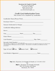 23+ Credit Card Authorization Form Template Pdf Fillable 2020!! with regard to Credit Card On File Form Templates