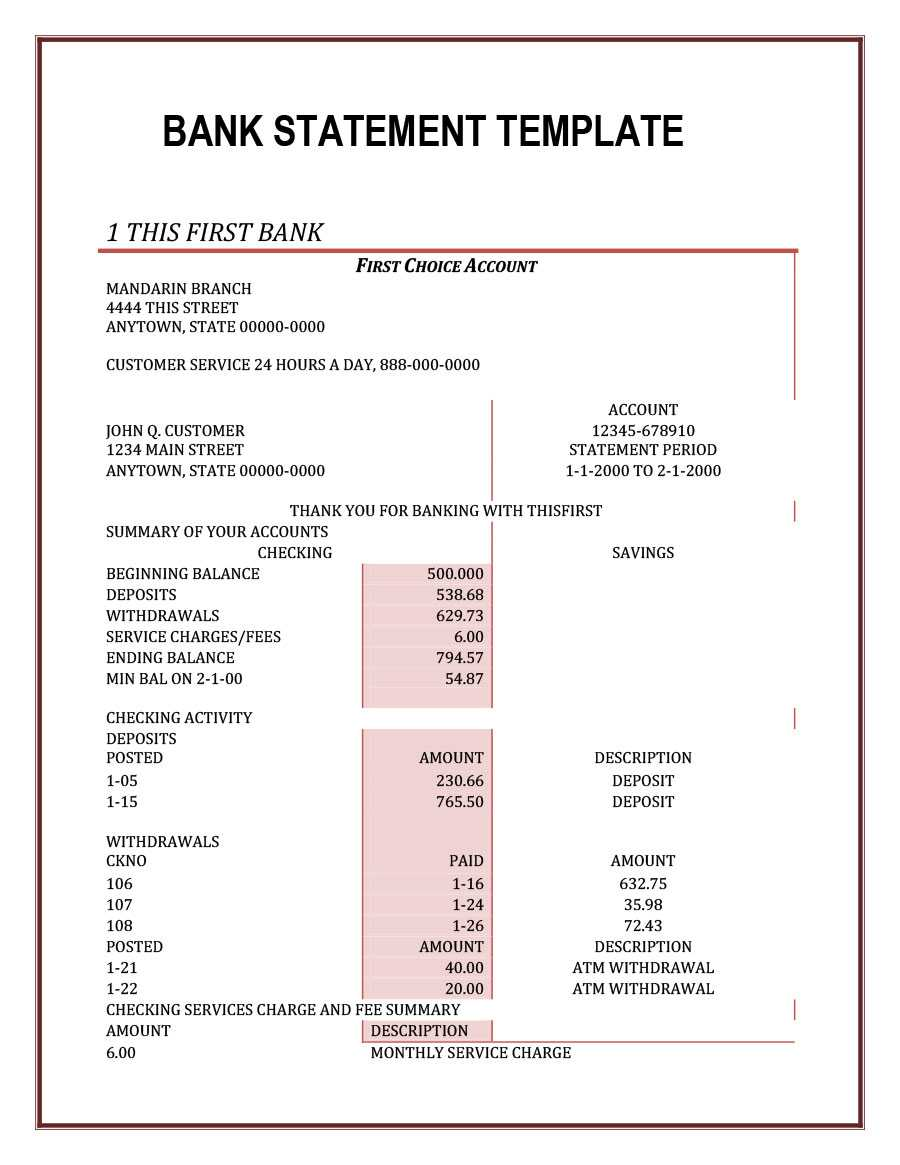 23 Editable Bank Statement Templates [Free] ᐅ Templatelab With Credit Card Statement Template
