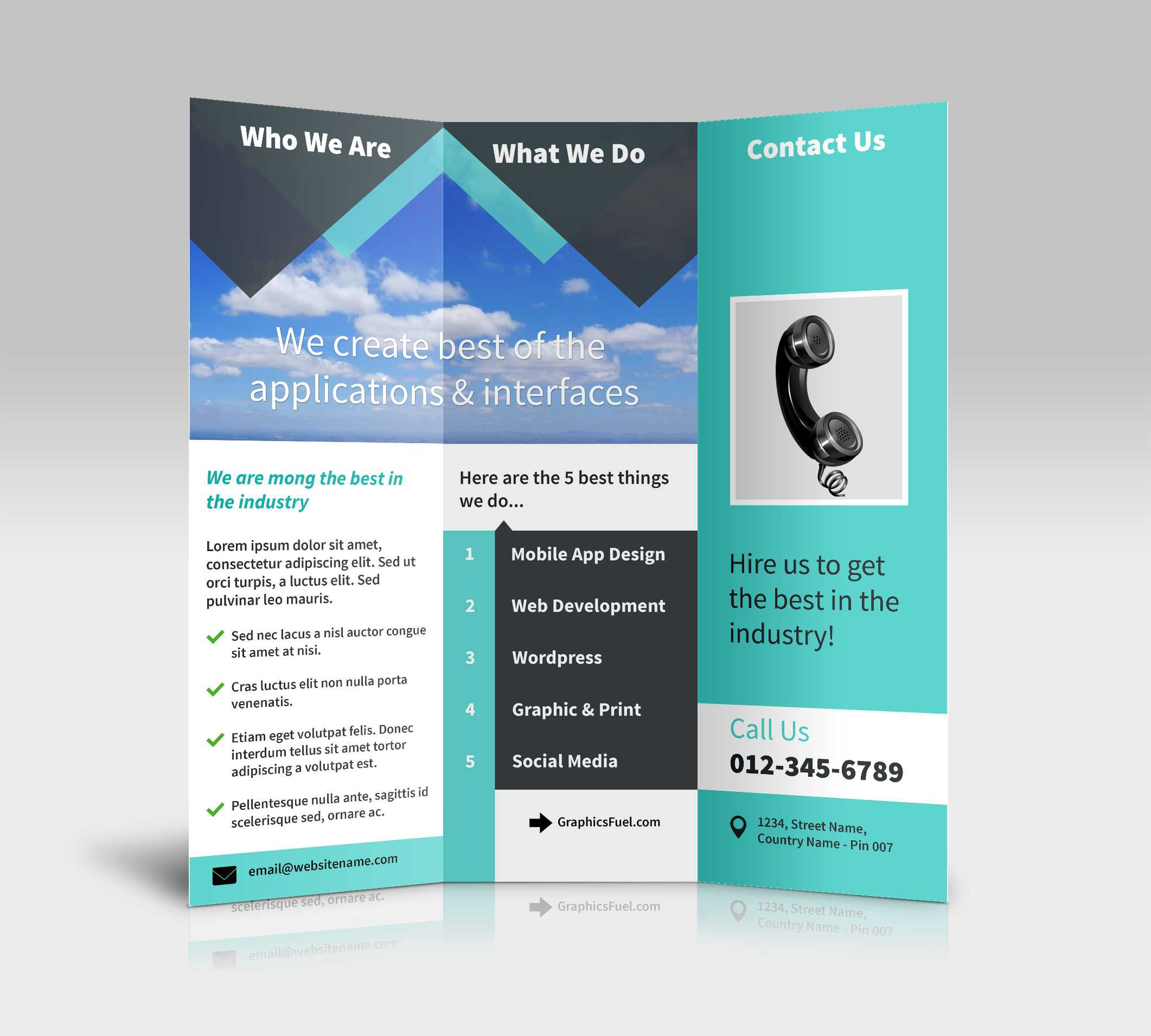 3 Panel Tri Fold Brochure Psd Mockups - Psd Mockups Pertaining To Brochure Psd Template 3 Fold