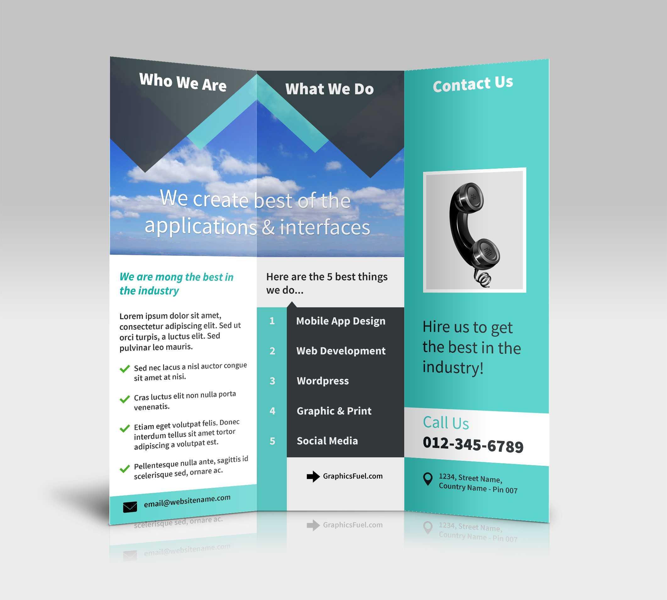 3 Panel Tri Fold Brochure Psd Mockups - Psd Mockups With 3 Fold Brochure Template Psd
