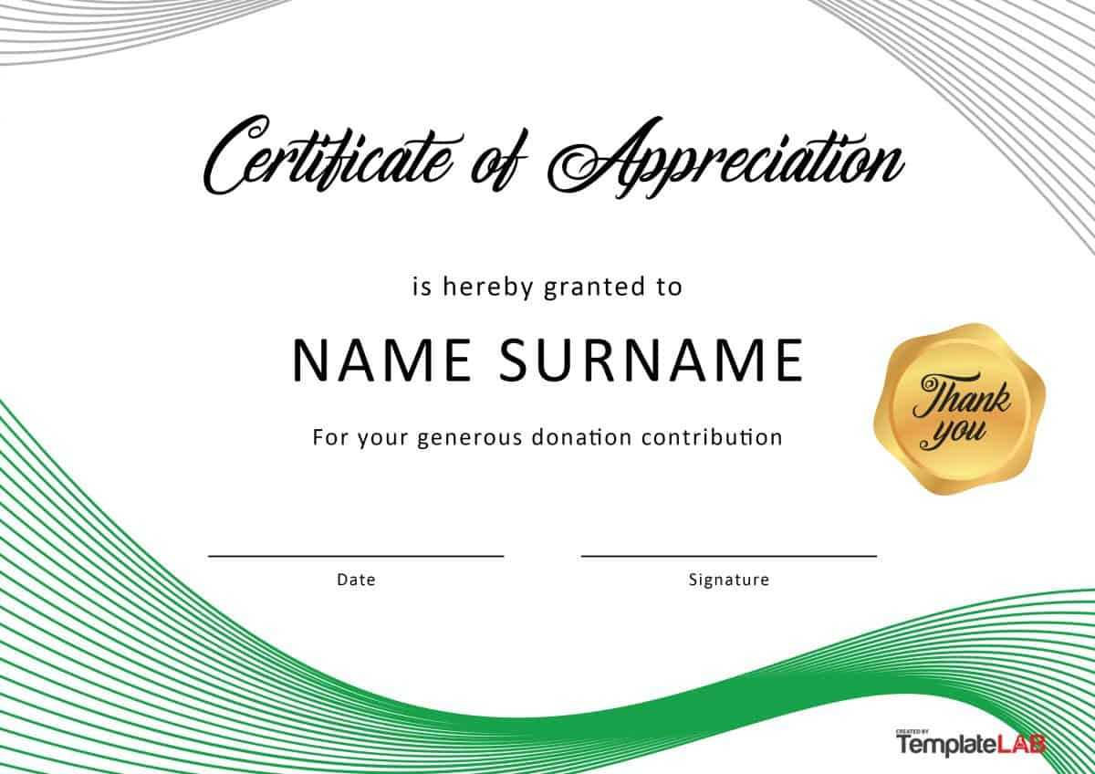 30 Free Certificate Of Appreciation Templates And Letters In Certificate Of Recognition Word Template