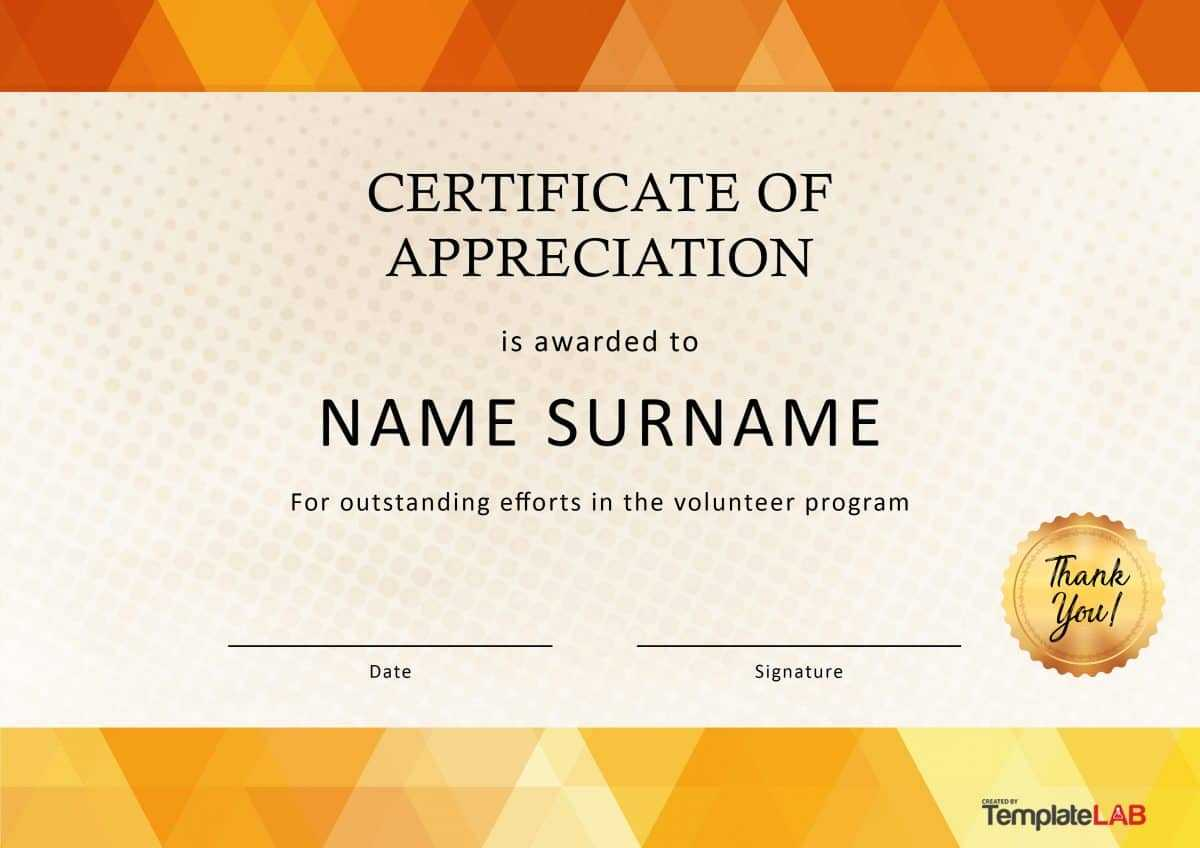 30 Free Certificate Of Appreciation Templates And Letters Inside Volunteer Award Certificate Template