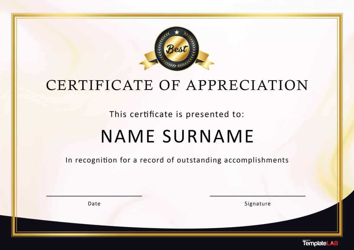 30 Free Certificate Of Appreciation Templates And Letters Regarding Certificate Of Excellence Template Word