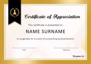 30 Free Certificate Of Appreciation Templates And Letters within Printable Certificate Of Recognition Templates Free