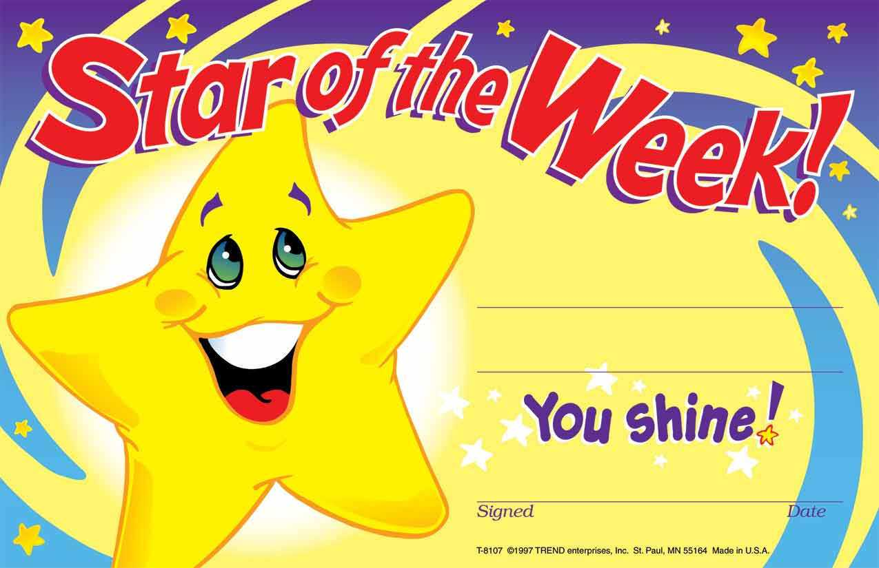 30 Star Of The Week Certificates Recognition Teacher Award Pad In Star Of The Week Certificate Template
