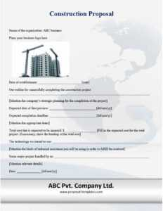 31 Construction Proposal Template & Construction Bid Forms within Certificate Of Completion Construction Templates