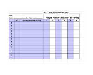 33 Printable Baseball Lineup Templates [Free Download] ᐅ throughout Baseball Lineup Card Template