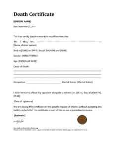 37 Blank Death Certificate Templates [100% Free] ᐅ Templatelab regarding Baby Death Certificate Template