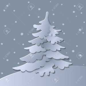 3D Abstract Paper Cut Illustration Of Christmas Tree. Vector.. pertaining to 3D Christmas Tree Card Template