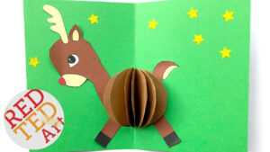 3D Christmas Card Diy – Easy Rudolph Pop Up Card – Templates – Paper Crafts within Diy Christmas Card Templates