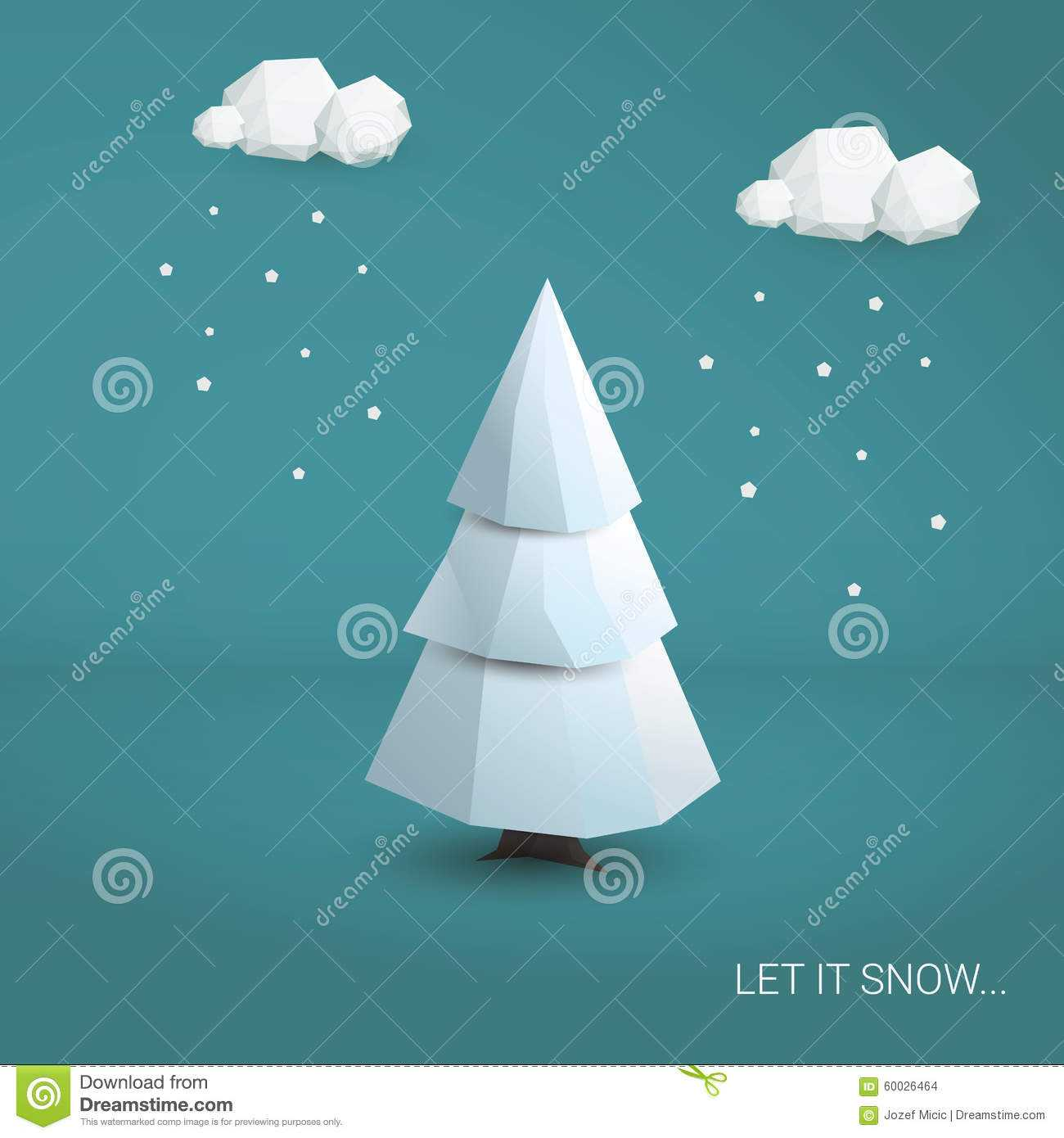 3D Low Poly Christmas Tree Card Template Stock Illustration Within 3D Christmas Tree Card Template