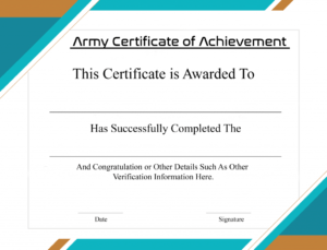 4+ Free Printable Certificate Of Achievement | Certificate in Certificate Of Achievement Army Template