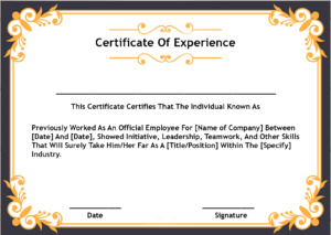 4+ Samples Certificate Of Experience Template | Certificate for Certificate Of Experience Template