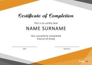40 Fantastic Certificate Of Completion Templates [Word for Attendance Certificate Template Word
