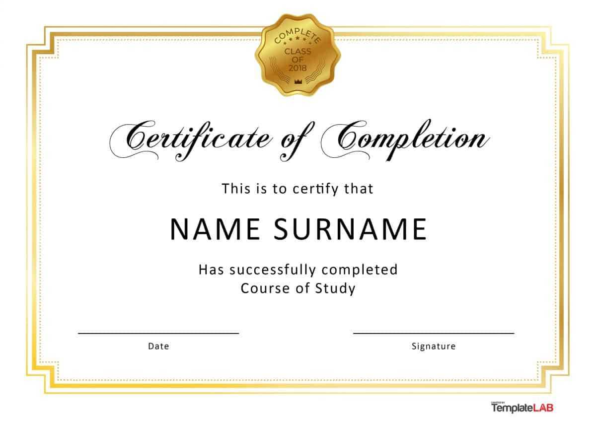40 Fantastic Certificate Of Completion Templates [Word With Certificate Of Completion Free Template Word