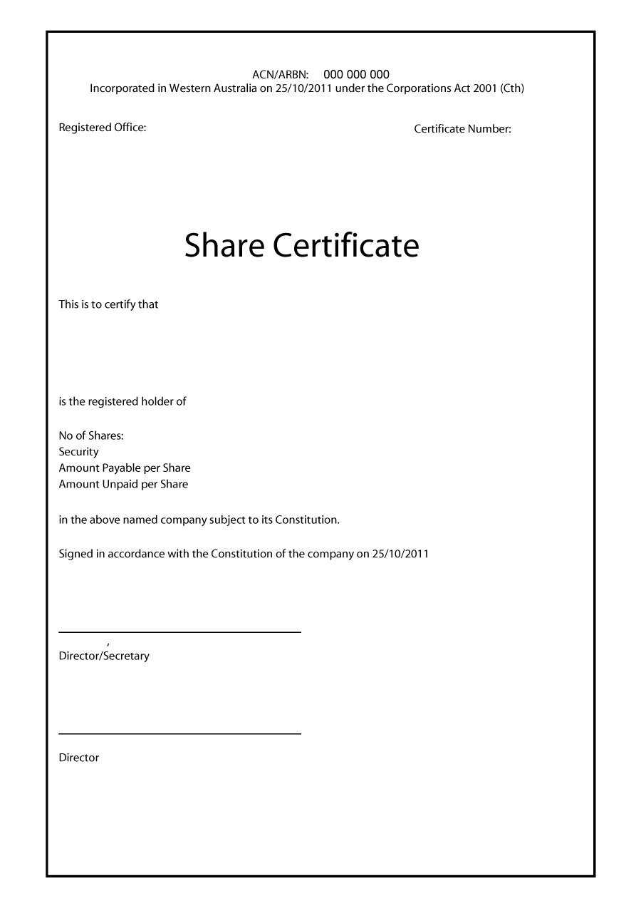 40+ Free Stock Certificate Templates (Word, Pdf) ᐅ Templatelab Within Share Certificate Template Australia