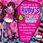 40Th Birthday Ideas: Birthday Invitation Templates Monster High inside Monster High Birthday Card Template
