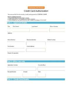 41 Credit Card Authorization Forms Templates {Ready-To-Use} inside Credit Card Payment Form Template Pdf