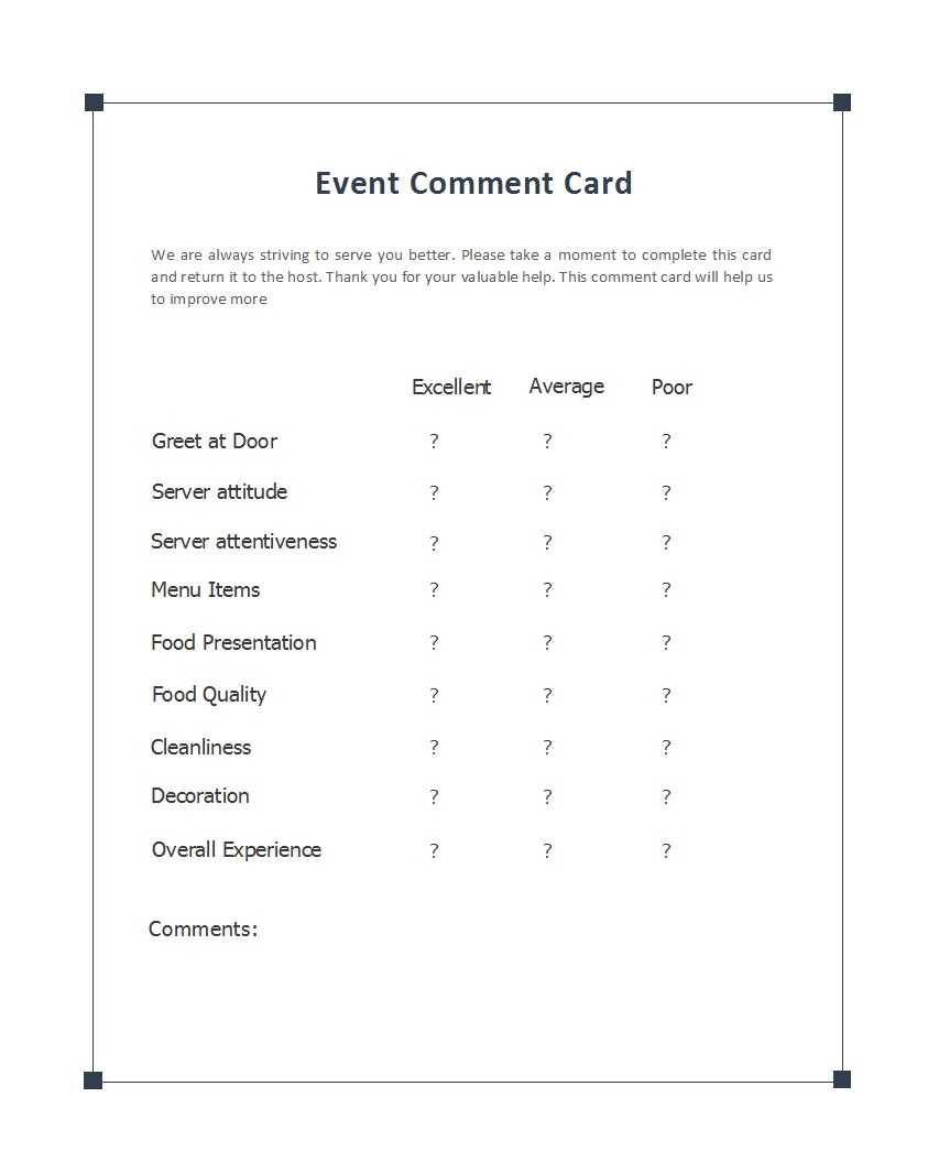 50 Printable Comment Card & Feedback Form Templates ᐅ Intended For Comment Cards Template