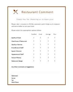 50 Printable Comment Card & Feedback Form Templates ᐅ pertaining to Customer Information Card Template