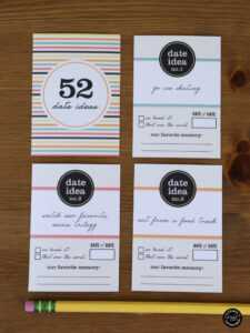 52 Date Night Ideas Printable Cards + Gift Box pertaining to 52 Things I Love About You Cards Template