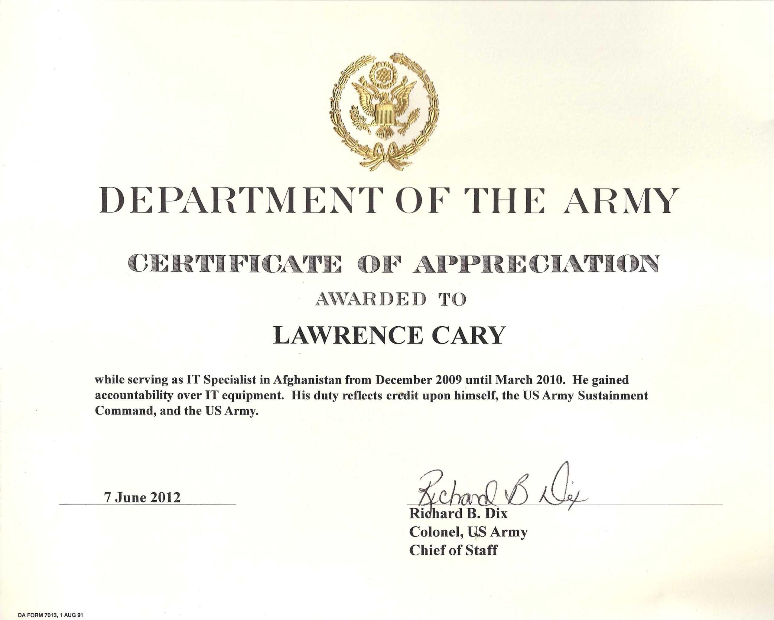 6+ Army Appreciation Certificate Templates - Pdf, Docx Within Promotion Certificate Template
