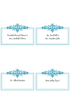 6 Best Images Of Free Printable Wedding Place Cards – Free in Table Name Card Template