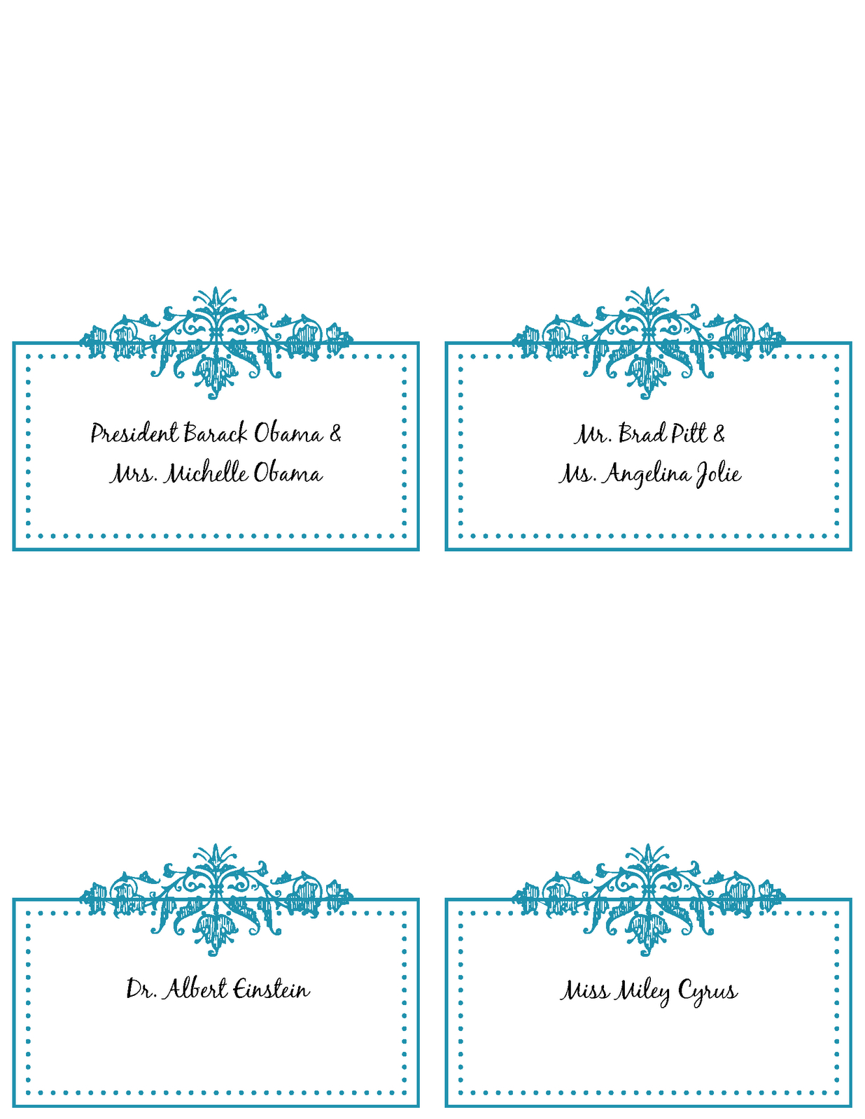 6 Best Images Of Free Printable Wedding Place Cards - Free With Table Place Card Template Free Download