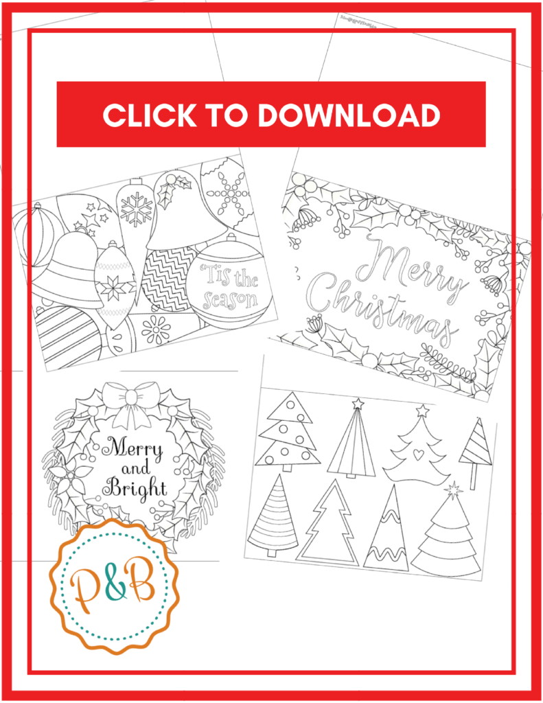 6 Unique Christmas Cards To Color Free Printable Download Pertaining To Diy Christmas Card Templates