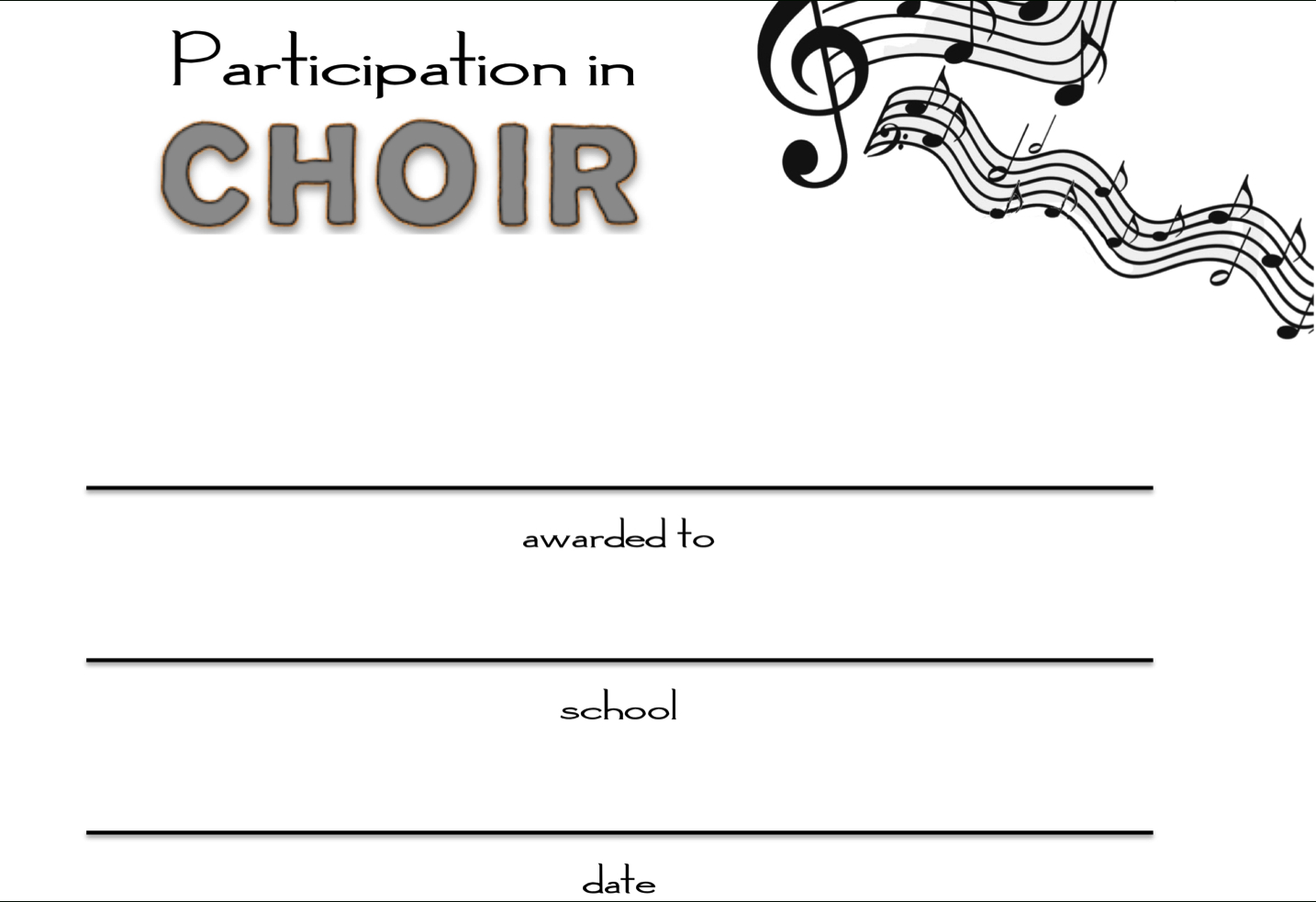 8+ Free Choir Certificate Of Participation Templates - Pdf For Choir Certificate Template