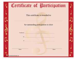 8+ Free Choir Certificate Of Participation Templates – Pdf regarding Choir Certificate Template